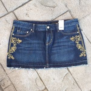 Sexy Express Gold Embroidered Denim Mini Skirt